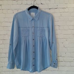 Style & Co button up oversized chambray shirt sz S